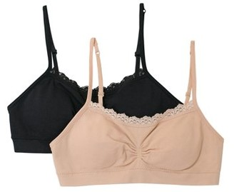 Fruit of the Loom Girls Lace Santoni Bras, 2-Pack, Sizes 4-16