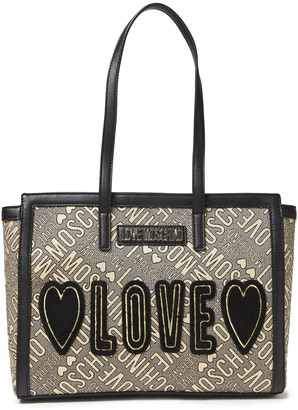 Love Moschino Appliqued Faux Leather-trimmed Metallic Jacquard Tote