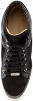 Jimmy Choo Panama Suede-Patent Leather Wedge Sneaker