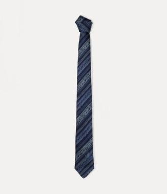 Vivienne Westwood Scribble Striped Tie Navy Blue 7CM