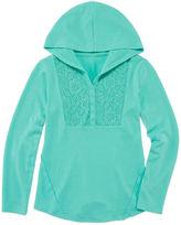 Arizona Long Sleeve Soft Crochet Yoke Hoodie - Girls' Plus