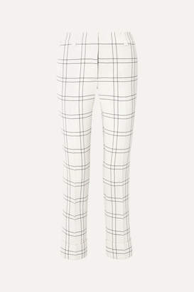 Akris Maxima Checked Stretch Wool And Cotton-blend Crepe Straight-leg Pants - Ivory