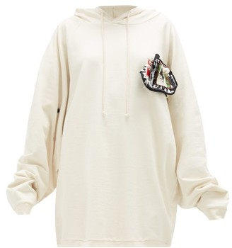 Raf Simons Pin-patch Cotton-jersey Hooded Sweatshirt - Ecru White Splash
