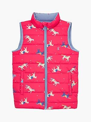 Joules Little Joule Girls' Croft Reversible Pony Gilet, Pink/Blue