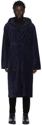 BOSS Navy Velour Hooded Robe