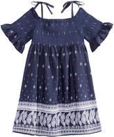 Bonnie Jean Off The Shoulder Border-Print Peasant Dress, Toddler Girls