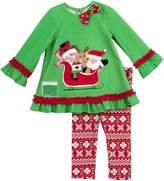 Rare Editions Little Girls Christmas Santa Sleigh Legging Set