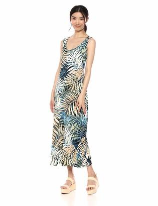 MSK Women's Long Maxi Dress with Printed Leaf Motif