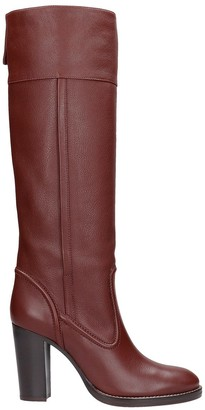 Chloé High Heels Boots In Bordeaux Leather