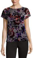 Liz Claiborne Short Sleeve Velour Sweatshirt