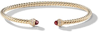 David Yurman 18kt yellow gold Cable Spira garnet and diamond 3mm cuff