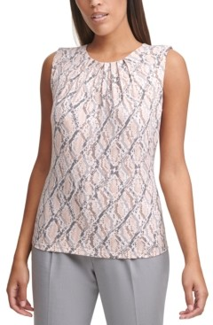 Calvin Klein Petite Printed Pleated-Neck Top