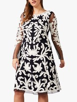 Studio 8 Aimee Tapework Dress, Navy/Ivory
