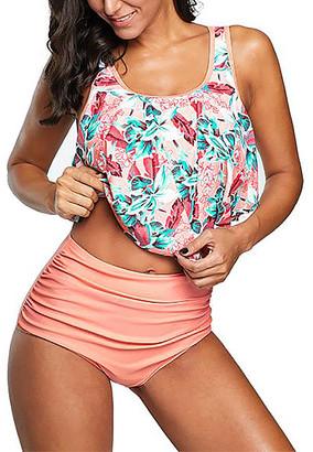 Zesica Women's Bikini Bottoms Pink - Pink Floral Crop Ruffled Overlay High-Waist Tankini - Women