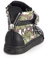 Giuseppe Zanotti Jeweled Camouflage Leather Wedge Sneakers