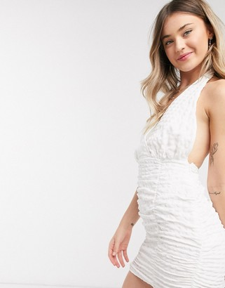 ASOS DESIGN textured halter ruched sundress in white