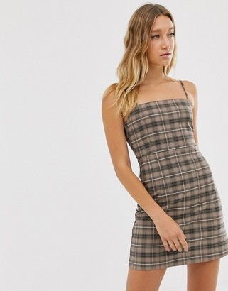 Monki check mini dress with spaghetti strap in brown