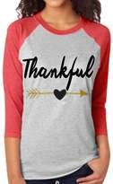 Susenstone Women Tee Letter Arrow Printed Three Quarter Sleeve Splicing Top T-Shirt (S, )