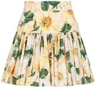 Dolce & Gabbana High-Waisted Daffodil Mini Skirt