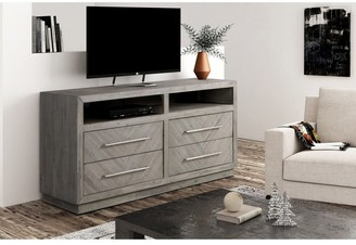 """Overstock Alexandra Solid Wood 64"""" Media Console in Rustic Latte - 65 inches in width"""