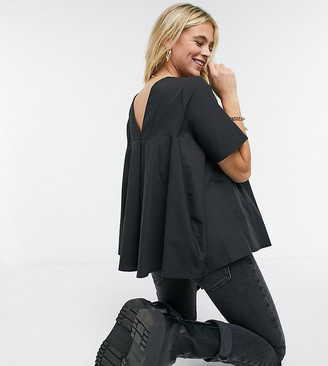 ASOS DESIGN Maternity short sleeve cotton top with pleat back detail in black
