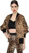 Dolce & Gabbana Leopard Brocade Oversized Bomber Jacket