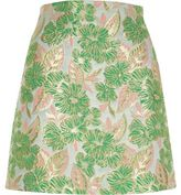 River Island Womens Green and pink floral jacquard mini skirt