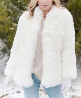 Ivory Llama Faux Fur Jacket - Plus Too