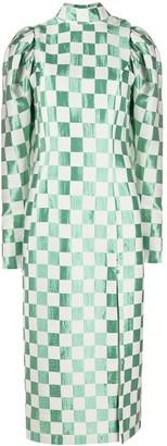Rotate by Birger Christensen Check Frosty Spice gigot-sleeve midi dress