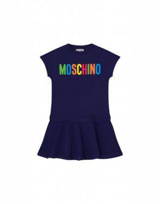 Moschino Multicolour Logo Dress Woman Blue Size 4a It - (4y Us)