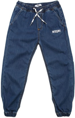 MSGM Logo Embroidered Cotton Denim Jeans