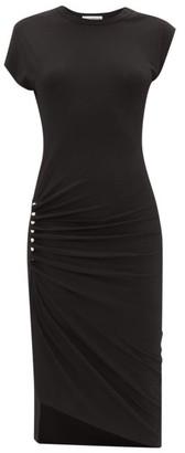 Paco Rabanne Draped-skirt Jersey Midi Dress - Black