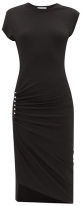 Paco Rabanne Draped-skirt Jersey Midi Dress - Womens - Black