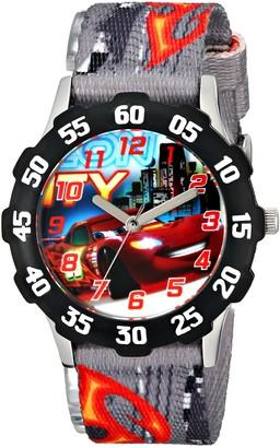 Disney Kids' W001591 Tween Cars Lightning McQueen Stainless Steel Watch Printed Nylon Band