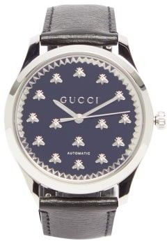 Gucci G-timeless Stainless-steel & Leather Watch - Mens - Black Silver