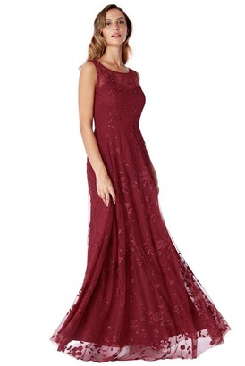 Goddiva Wine Mesh Embroidered Maxi Dress