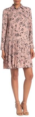 Nanette Lepore Printed Long Sleeve Shirt Dress