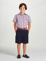 Oscar de la Renta Check Cotton Short Sleeve Dress Shirt