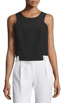 Milly Round-Neck Seamed Shell, Black