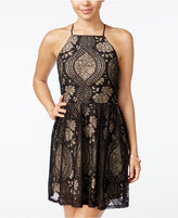 Trixxi Juniors' Lace Halter Fit & Flare Dress