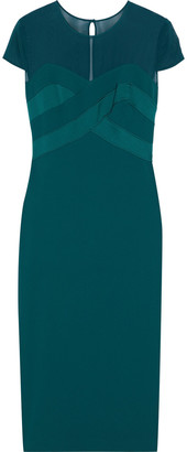 Max Mara Bracco Chiffon-paneled Satin-crepe Midi Dress