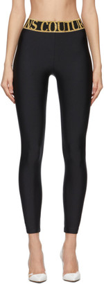 Versace Jeans Couture Black and Gold Logo Leggings