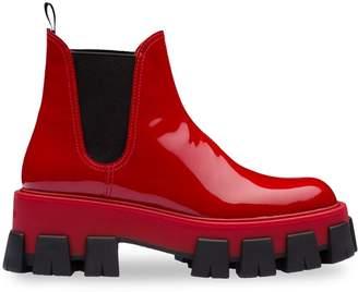 Prada Moonlight Patent Leather Booties