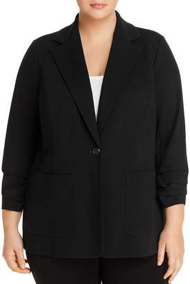 Vince Camuto Plus Ponte Ruched-Sleeve Blazer