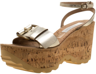 Stella McCartney Metallic Gold Faux Leather Linda Cork Wedges Platform Sandals Size 40