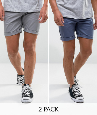 Asos Design ASOS 2 Pack Slim Chino Shorts In Grey & Blue Save