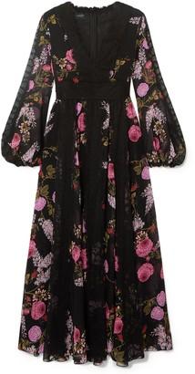 Giambattista Valli Lace-trimmed Floral-print Silk-georgette Midi Dress