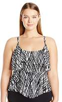 Maxine Of Hollywood Women's Plus Size Stranded Double-Tier Tankini with Adjustable Straps