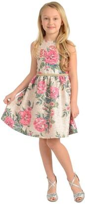 Badgley Mischka Metallic Floral Print Dress