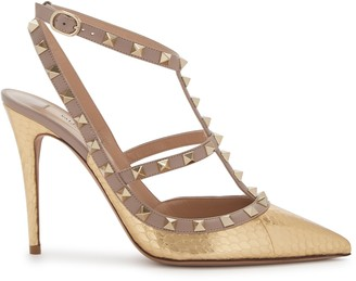 Valentino Rockstud 100 gold-tone leather pumps